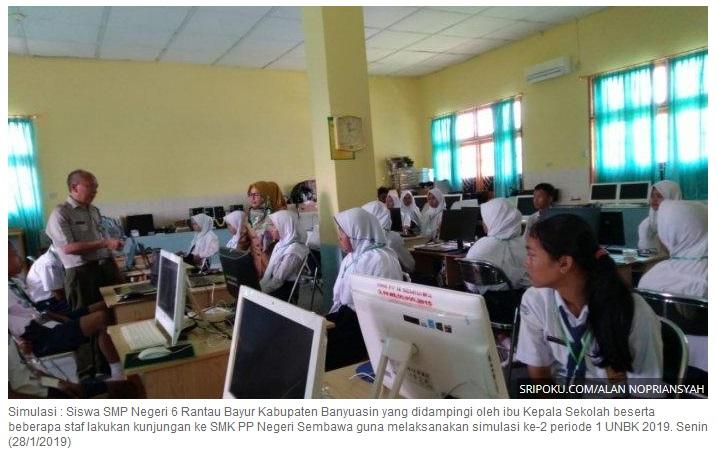 Siswa SMP Negeri 6 Rantau Bayur Latihan Simulasi UNBK di SMK PP N Sembawa