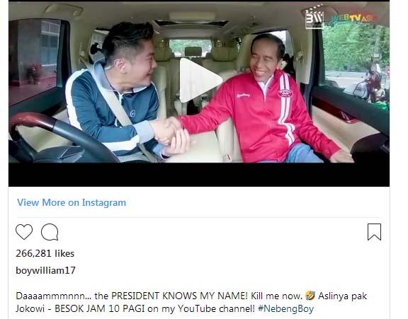 Boy William Seperti Mimpi Ketika Mobilnya Ditumpangi Jokowi